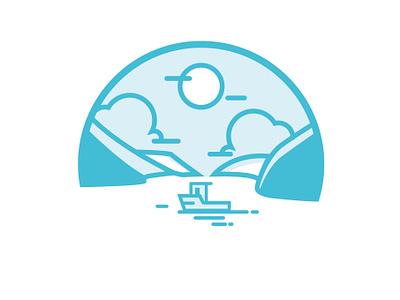 Finger Lakes Icon illustrator illustration fingerlakes website location icon wineries kueka lake blue water mountains boat lake finger lakes ny new york