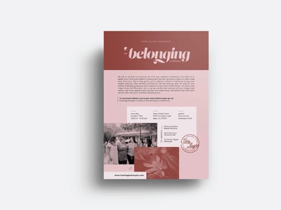 The Belonging Conference Flyer poster empower women empowerment women church belonging belong conference she laughs pink 8.5x11 publication layout invite