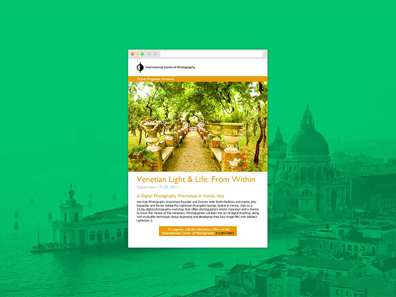 ICP Newsletter photography newsletter template newsletter light italy venice campaign design