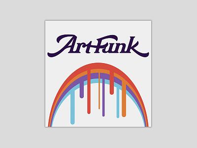 Art Funk Podcast lettering script rainbow podcast logo