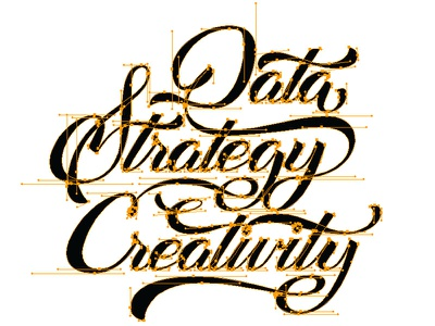 Data Strategy Creativity bezier vector lettering