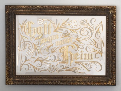 Gott segue unser heim sign painting signpainting german antique commission gold leaf hand-lettering lettering sign-painting