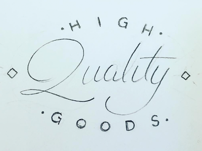 High Quality Goods (sketch) vintage branding lettering pencil sketch