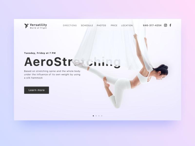 DailyUI #003 Landing Page yoga stretching ui minimalism flying sport webdesign web fitness aerostretching landing dailyui