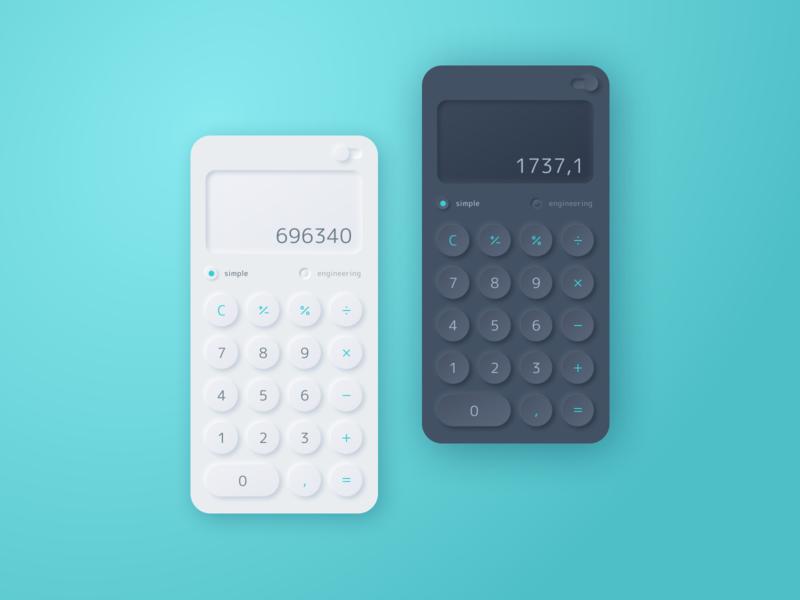 DailyUI #004 Calculator app design mobile theme dark neumorphism ui calculator dailyui