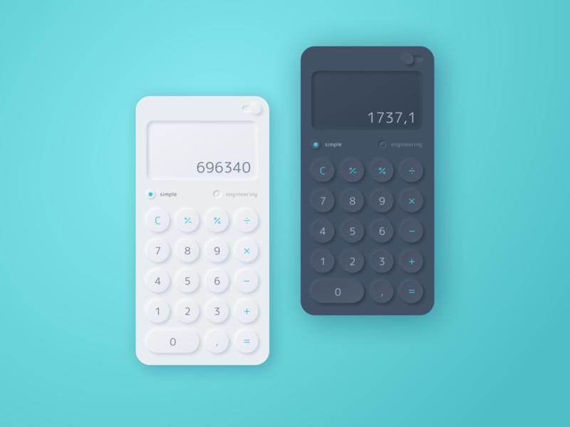 Daily UI  004 Calculator V2 neumorphism theme dark app calculator ui dailyui