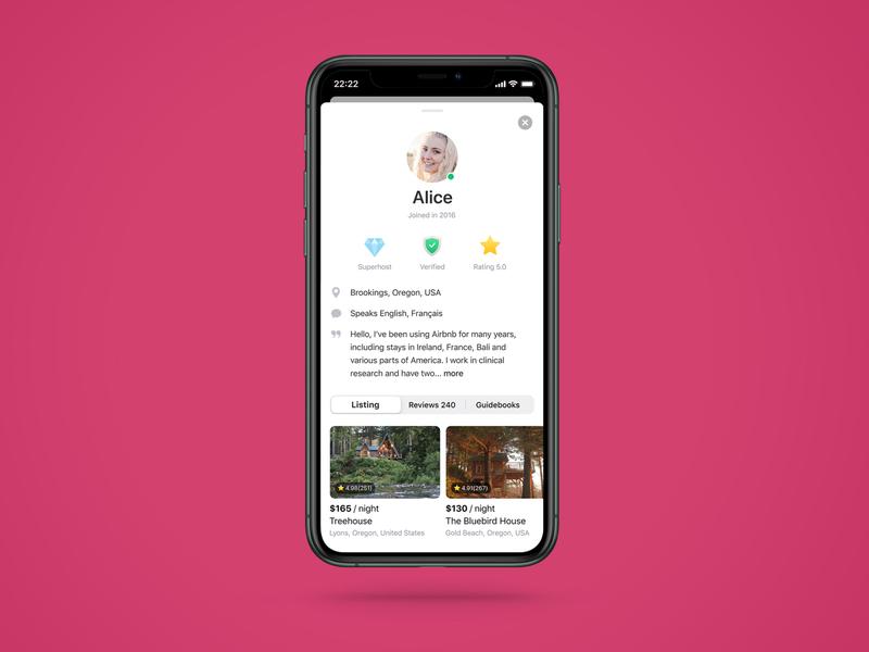 DailyUI #006 User Profile dailyui mobile userinterface iphone app ui redesign airbnb design profile user