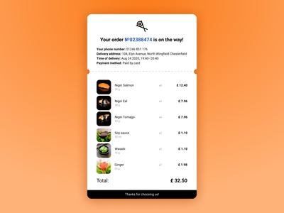 DailyUI #017 Email Receipt sushi order receipt email web design ui dailyui