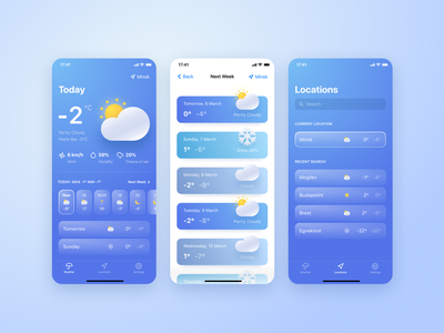 Weather App minsk belarus forecast weather mobile app design ui