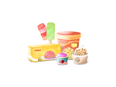 Ice Cream watercolour photoshop paint illustration icon graphic icecream design concept colour clean art