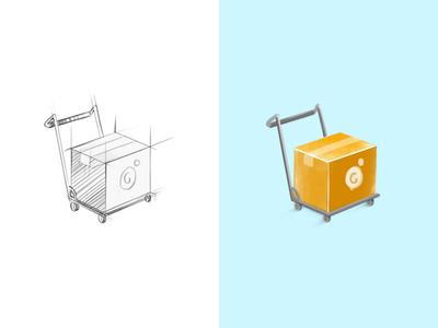 Delivery Icon brand watercolour simple colour orange food sketch box illustration 3d icon delivery
