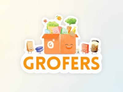 Laptop stickers for Grofers watercolour vector simple illustration exploration design character app 2d
