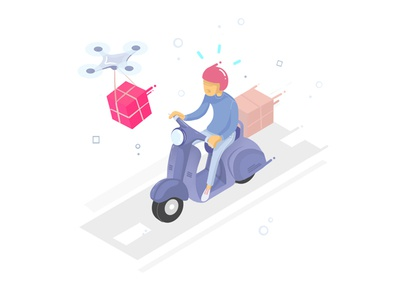 Speedy Delivery state empty illustration colour map store location photoshop isometric