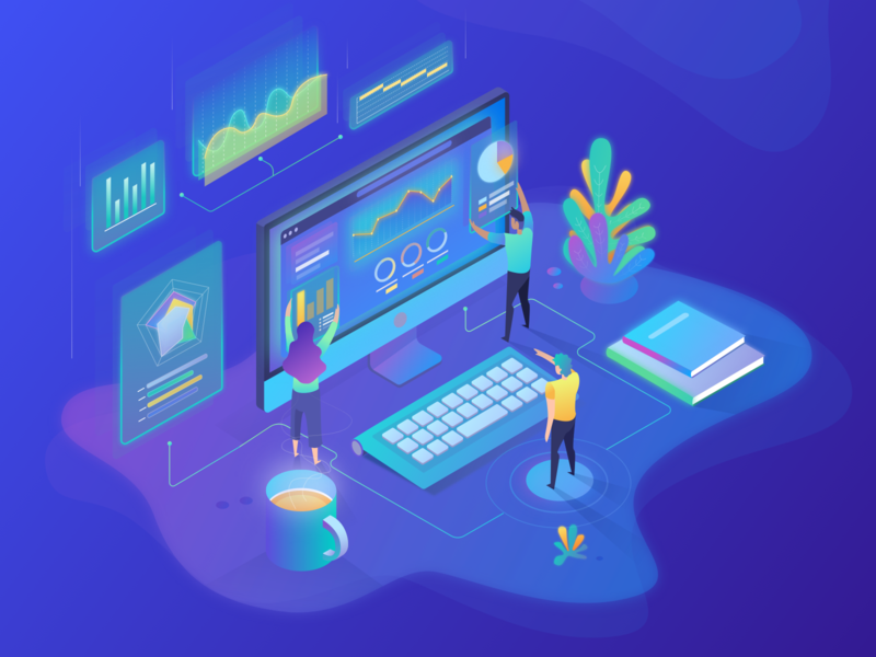 Build Your Custom Dashboard data viz data fusioncharts isometric illustration isometric design isometric ui exploration branding clean concept simple app vector sketch character 2d design colour illustration