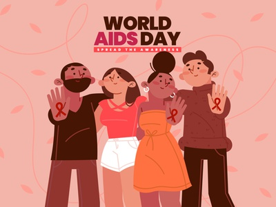 World Aids Day flat illustration friends vector illustration vector illustration design people day aids world