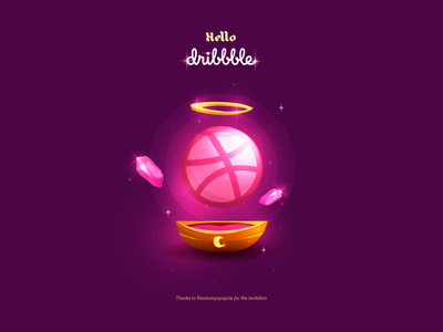 Hello Dribbble! firstshot crystal ball pink witchcraft magical dribbble illustrator minimal flat icon mistery gravity glow vector haloween crystals magic witch design illustration