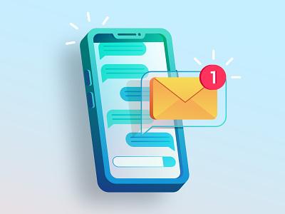 New message concept flat flat illustration design ui illustration vector illustration vector smartphone notification message phone new message