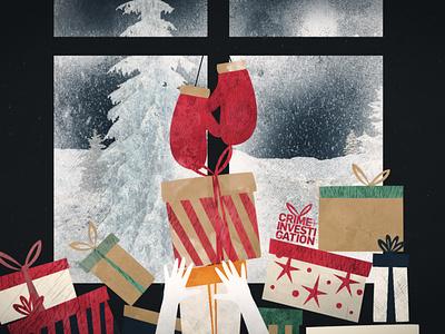Delitti In Famiglia illustraion christmas motion graphic crime