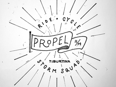 Ride. Cycle. Propel. sketch pencil handwritten design logo letters type practice lettering