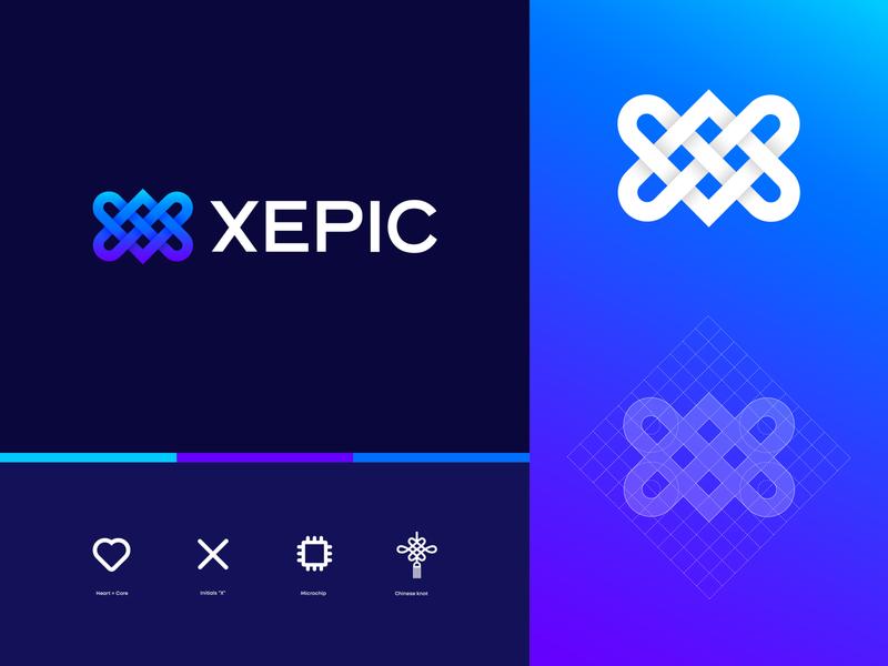 XEPIC Logotype Exploration mark branding logodesign branding and identity logo chinese knot microchip heart