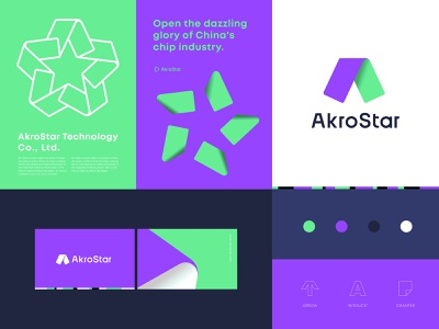 AkroStar Identity system 1 chip startup star identity branding concept logodesign branding and identity logo branding