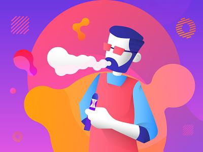Smoking Man gradient color colorful design vape design smokestack smokes