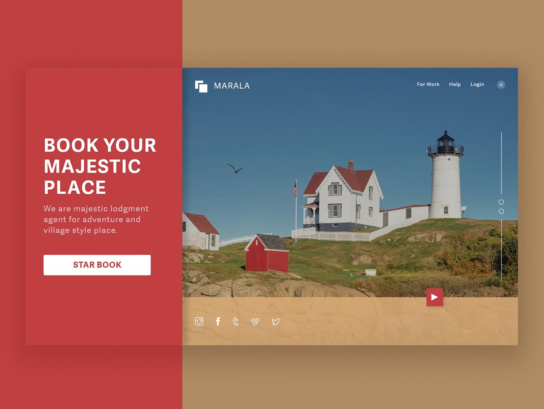 Landing Page - Booking place debut web header design ux uidesigner dailyui ui design