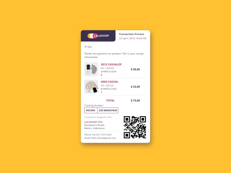 Email Receipt website flat header design web app appdesign ux uidesigner dailyui ui design