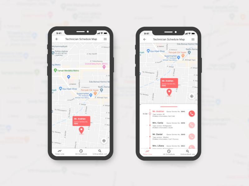 Map for Technician Schedule web app appdesign ux uidesigner dailyui ui design