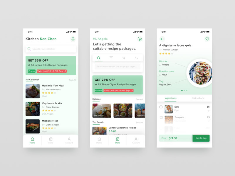 Food Recipe App Explore app design