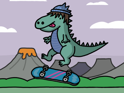 Dino tricks procreate illustration comic 2d
