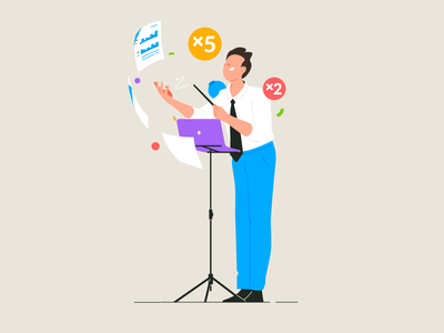 Conductor business management magic text documents conductor character illustration flat vector