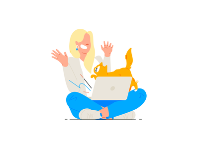 Girl and cat cat laptop girl stroke design line character illustration flat vector