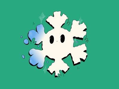 snowflakes cute emoji snow stroke design line character flat illustration vector