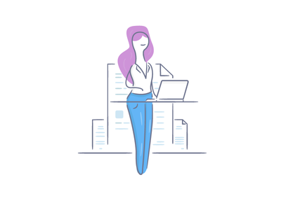Workplace Girl workplace woman vector secretary office line illustration girl flat desk character