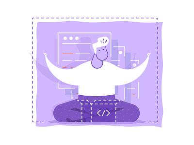 Programmer meditates flat line ux meditation vector design site programmer code character man