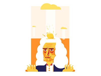 Isaac Newton lemon beer isaac portrait illustration grain flat