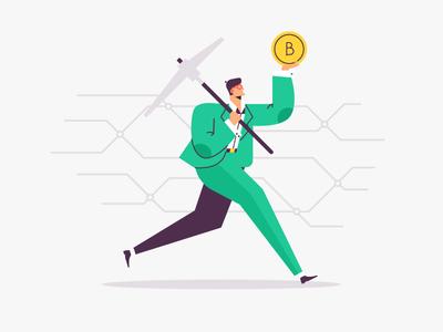 bitcoin mining illustration character vector purpose scheme computer production circus businessman mining bitcoin