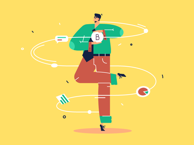 Bitcoin mining bitcoin mining businessman circus production magic computer scheme purpose vector character illustration