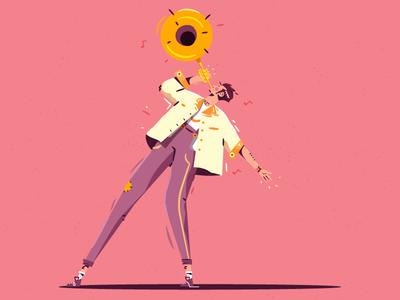 Trumpet trumpet dance design game walk melody man character illustration vector music jazz