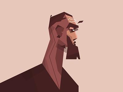 Character design ai flat poly low polygon beard man design character
