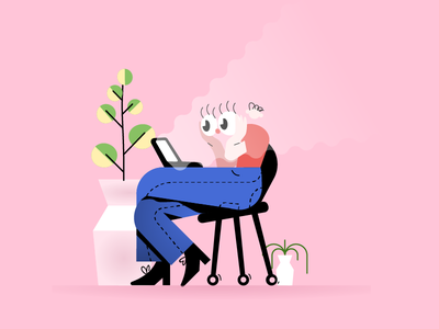 laptop vector sitting sits man illustration glasses flat collaboration character businessman branding brand