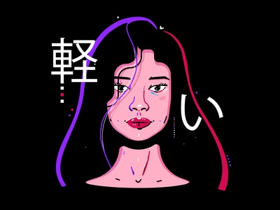 portrait painting character game woman girl design line flat illustration vector portret