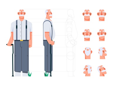 Grandfather character identity tutorials tutorial old suspender style development face stands grandfather man design character illustration flat vector