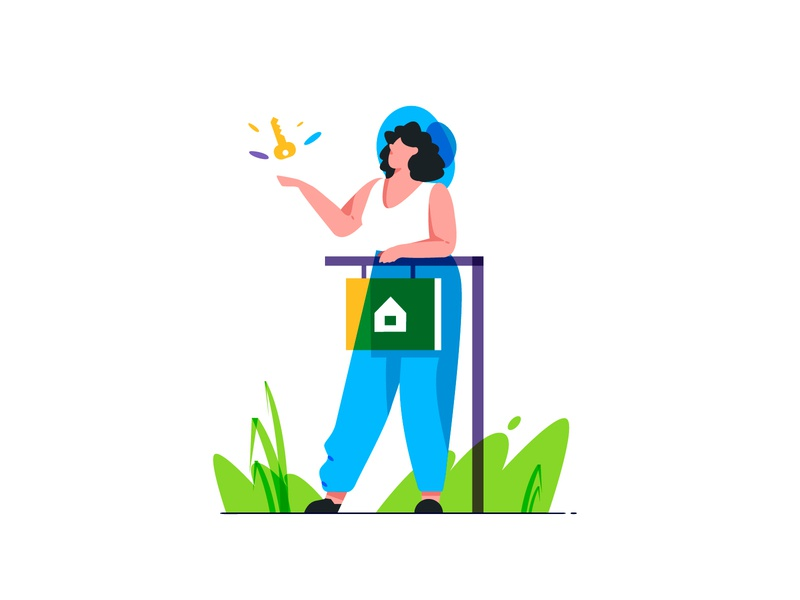 Rental Property empty state branding brand girl rent rental property character illustration flat vector