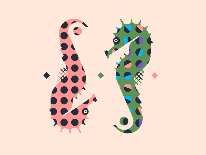 Hippocampus brand design brand colorful color flat fashion print experimental typography art design hippocampus vector pattern illustration branding