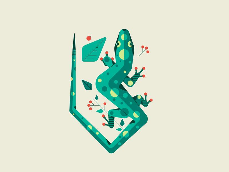 Lizard animals flowers leaves nature lizard design line illustration flat vector