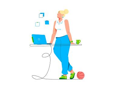 Character: Workplace outline stroke app ux ui brand branding worker laptop girl design line character illustration flat vector