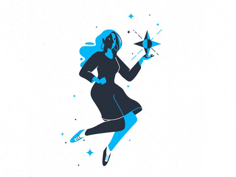 two dark branding typography girl stroke line character illustration vector
