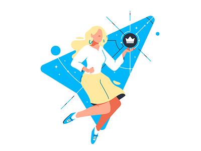 Character: Space girl stroke brand data branding girl tech analytic space line character illustration flat vector